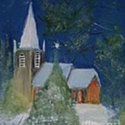 Crisp Holiday Night Art Print by Louise Burkhardt