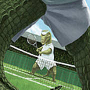 Crocodiles Playing Tennis At Wimbledon  Art Print
