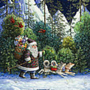 Cross-country Santa Art Print by Lynn Bywaters
