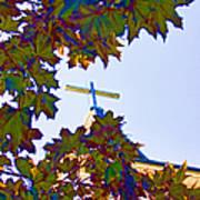 Cross Framed By Leaves Art Print