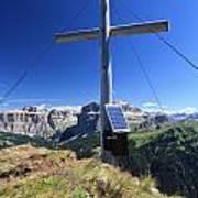 cross on Crepa Neigra peak Art Print