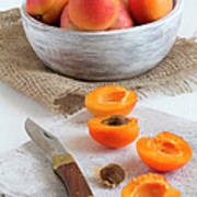 Cross Section Apricots With Knife And Art Print