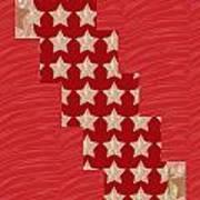 Cross Through Sparkle Stars On Red Silken Base Art Print by Navin Joshi