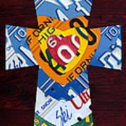 Cross With Heart Rustic License Plate Art On Dark Red Wood Art Print