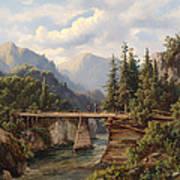 Crossing The River Bridge Art Print