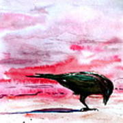 Crow At Dawn Art Print