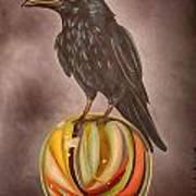 Crow On Marble Edit 3 Art Print