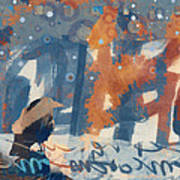 Crow Snow Art Print