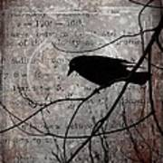 Crow Thoughts Collage Art Print