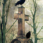 Urban Graveyard Crows Art Print