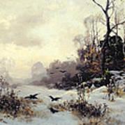 Crows In A Winter Landscape Art Print by Karl Kustner