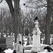 Crows In Gothic Winter Wonderland Art Print