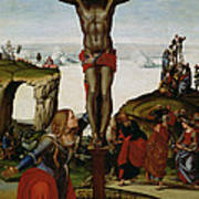 Crucifixion With Mary Magdalene Art Print