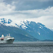 Cruise Ship In The Sognefjord In Norway Art Print