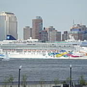 Cruise Ship On The Hudson Art Print