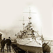 Cruiser Uss New York Going Into Dry Dock San Francisco Circa 1903 Art Print