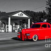 Cruising Route 66 Dwight Il Selective Coloring Digital Art Art Print