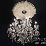 Crystal Chandelier - Paris Black And White Chandelier - Sparkling Elegant Chandelier Opulence Art Print
