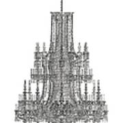 Crystal Palace Chandelier In Black And White Art Print