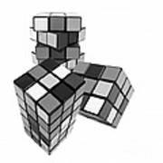 Cubed - Shades Of Grey Art Print