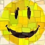 Cubism Smiley Face Art Print