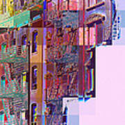 Colorful Old Buildings Of New York City - Pop-art Style Art Print