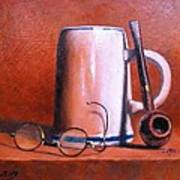 Cup Pipe And Glasses Art Print
