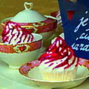 Cupcakes And Tea Je Suis Au Jardin Coffee Shop City Scene Cafe Montreal Food  Art Carole Spandau Art Print