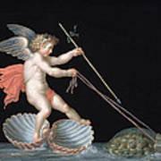 Cupid Being Led By Tortoises Art Print