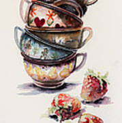 Cups And Strawberries Art Print