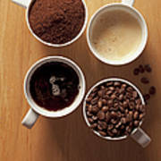 Cups Of Coffee And Coffee Beans Art Print