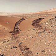 Curiosity Tracks Under The Sun In Mars Art Print