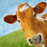 Curious Cow Art Print by Jo Collins
