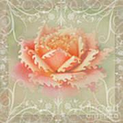 Curlyicue Peach Rose With Flourshis   Square Art Print