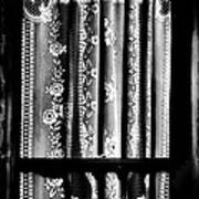Curtain In Black And White Art Print