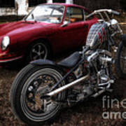 Custom Bike And Porsche Art Print
