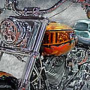 Custom Bike In Orange And Black Art Print