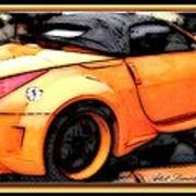 Custom Orange Sports Car Art Print by Danielle  Parent