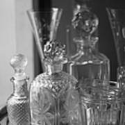 Cut Glass Crystal Decanters In Black And White 2 Art Print