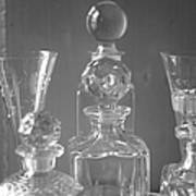 Cut Glass Decanters In Black And White Art Print