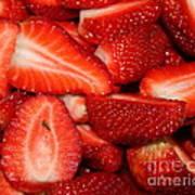 Cut Strawberries Art Print
