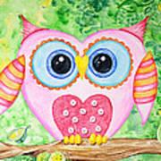 Cute As A Button Owl Art Print