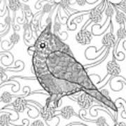 Cute Bird In Fantasy Flower Garden Art Print