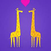 Cute Cartoon Giraffe Couple In Love Purple Edition Art Print