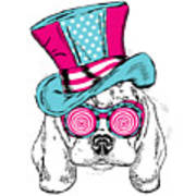 Cute Dog In An Unusual Hat . Vector Art Print