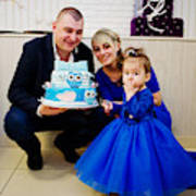 a1073dbb2 Cute Little Baby Girl At Blue Dress With 1 Year Birthday Cake ...