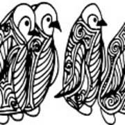 Cute Of Four Penguins. Adult Art Print