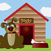 Cute Puppy Dog With Dog House Illustration Art Print