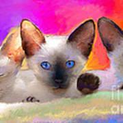 Cute Siamese Kittens Cats  Art Print by Svetlana Novikova