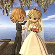 Cute Toon Wedding Couple On A Seaside Balcony Art Print